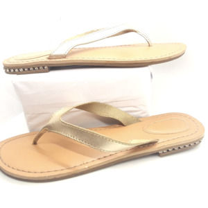 Metallic Gold Rhinestone Heel Leather Sandals   8